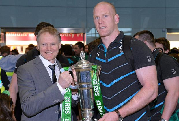 Ireland head coach Joe Schmidt and captain Paul O'Connell with the RBS Six Nations Rugby Championship trophy.