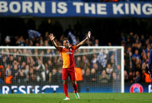 Galatasaray's Didier Drogba acknowledges the fans at Stamford Bridge
