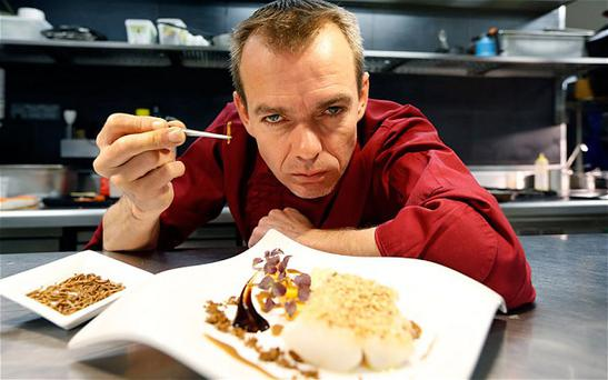 David Faure (pictured) began serving crickets and mealworm in April last year at his Aphrodite restaurant in Nice, France Photo: Didier Baverel/ Getty