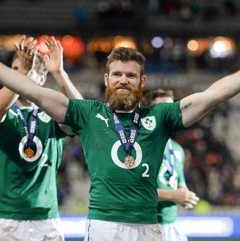 Ireland's Gordon D'Arcy celebrates after the game. Picture Matt Browne/Sportsfile.