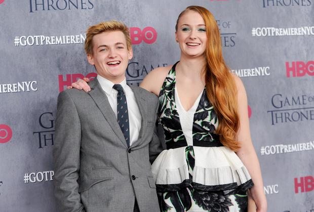 "Actors Jack Gleeson and Sophie Turner attend HBO's ""Game of Thrones"" fourth season premiere at Avery Fisher Hall in New York."