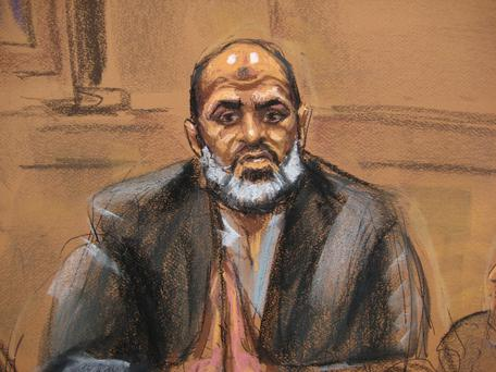Osama bin Laden's son-in-law Suleiman Abu Ghaith is seen in a courtroom drawing as he takes the stand in his own defense against terrorism charges in New York. Reuters/Jane Rosenberg