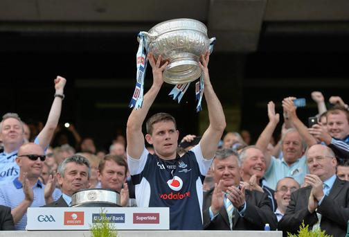 Dublin captain Stephen Cluxton lifts the Delaney Cup