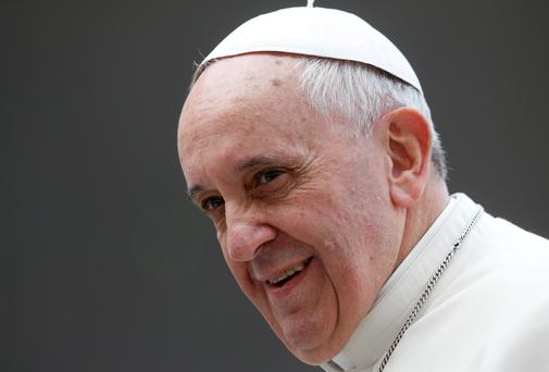 Pope Francis during his Wednesday general audience at Saint Peter's Square at the Vatican