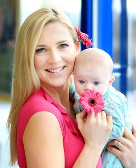 Model mum Sarah McGovern pictured with daughter Robyn aged 9 weeks at the launch of Lidl's range of special offers for Mother's Day. Pic: Marc O'Sullivan