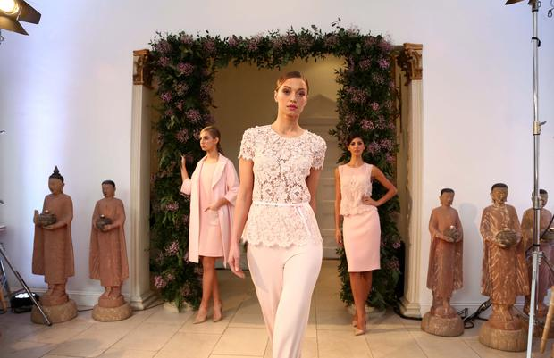 From left: Thalia Heffernan wears Jodi blush blend coat €1295 and Jolie blush crepe dress with pearl encrusted pocket €995Irma Maliauskaite wears a Opal Blush Lace top with hand-embroidered pearl detail, €1,295, and Leonie Blush Jersey trousers, €495, Martha Christie wears a Juliette embellished blush silk top with €2500 and Dani Blush Crepe Skirt, €495