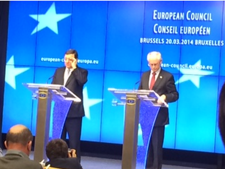 Van Rompuy and Barroso arrive for post Ukraine summit discussion press conference