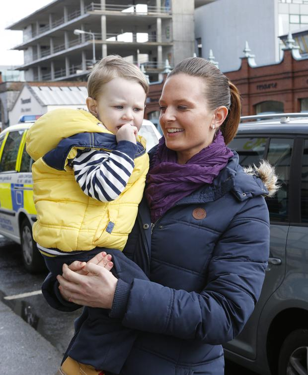 Christine Costelloe and her wandering two-year-old son Theo arriving at Henry Street Garda station, Limerick for a press conference. Picture: Liam Burke/Press 22