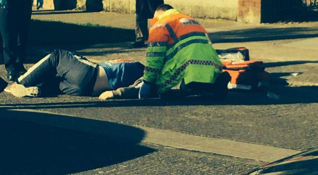 Paramedics attend to injured shooting victim outside creche in Donaghmede this morning