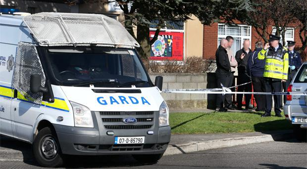 Gardai at the scene of the shooting of 'Fat Deccy' Smith on Holywell Avenue in March
