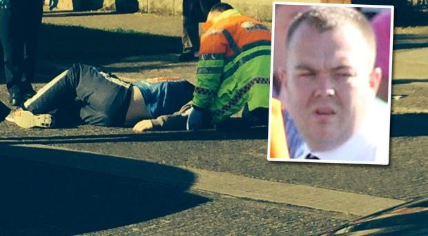 Paramedics attend shooting victim 'Fat Deccy' Smith at Holywell Avenue in Donaghmede