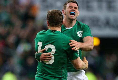Fergus McFadden celebrates with Brian O'Driscoll of Ireland after winning the Six Nations Championship