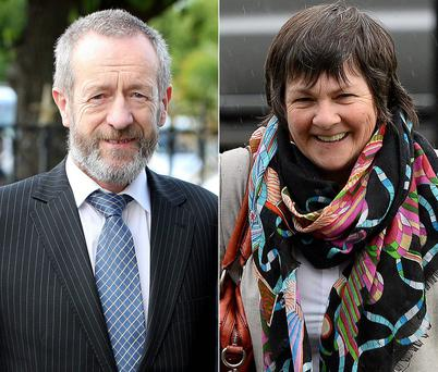 MEP Sean Kelly; and right, photographer Michelle Cooper Galvin outside Killarney District Court.