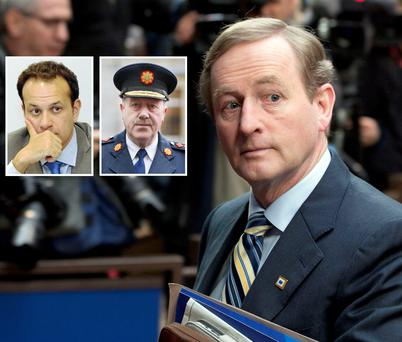 Main: Taoiseach Enda Kenny in Brussels on Friday. Inset: Transport Minister Leo Varadkar (left) and Garda Commissioner Martin Callinan