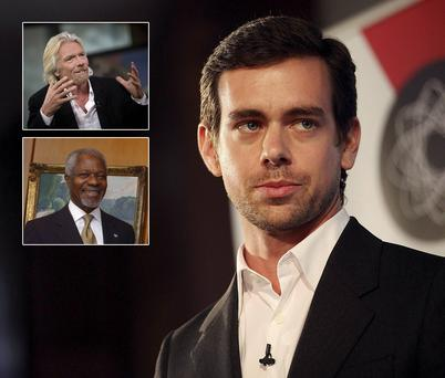 Jack Dorsey, Richard Branson and Kofi Annan