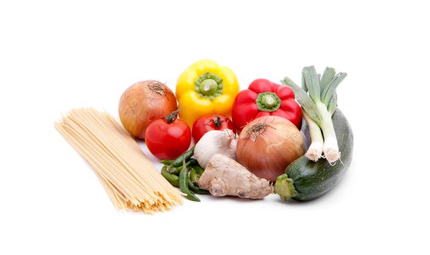 Healthy: pasta and vegetables