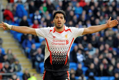 Liverpool's Luis Suarez celebrates scoring his third goal against Cardiff City