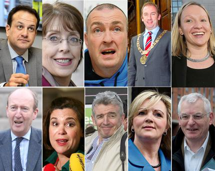 IN THE FRAME: Clockwise from top left, Leo Varadkar, Roisin Shortall, Pat Gilroy, Oisin Quinn, Lucinda Creighton, Joe Higgins, Louise Phelan, Michael O'Leary, Mary Lou McDonald, and Shane Ross