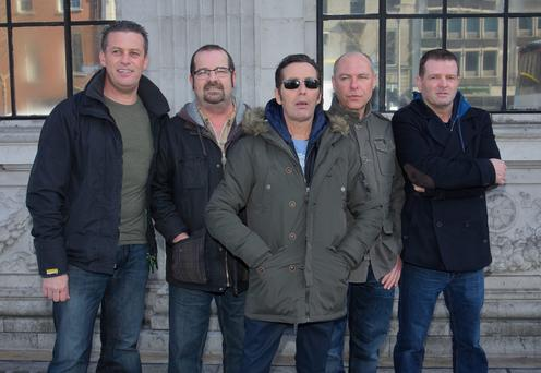 Rodney O' Brien, Joe Jewell, Christy Dignam, Alan Downey, Billy McGuinness, during a press brieifing at the Gresham Hotel last week.