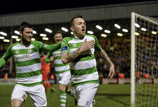 Gary McCabe, Shamrock Rovers, celebrates after scoring