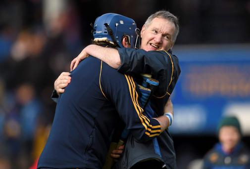 Tipperary manager Eamon O'Shea celebrates his side's victory with goalkeeper Darragh Egan