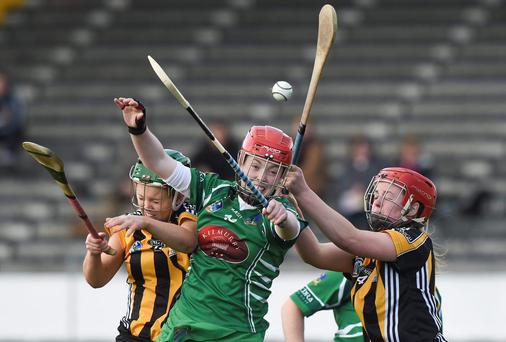 Colette Dormer and Kate McDonald, Kilkenny, in action against Meadhbh O'Neill, Limerick