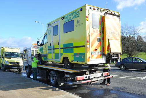 A Co Louth ambulance that lost a wheel earlier this month. Photo: Ciara Wilkinson.