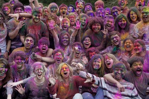 It's a riot of colour as students take part in the Holi Festival in the grounds of the Lewis Glucksman Gallery, University College Cork. Picture: Clare Keogh