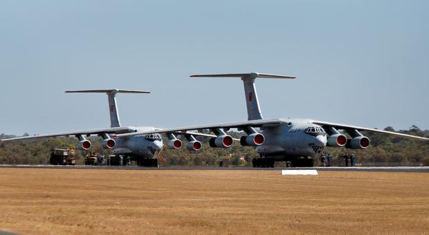 Two Chinese Air Force Ilyushin Il-76 aircraft near Perth