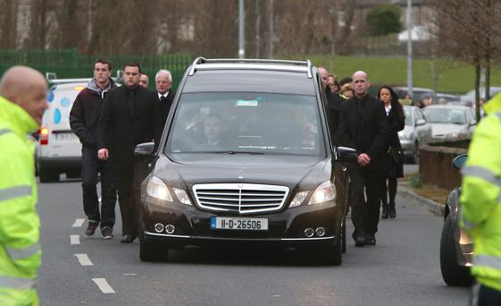 The hearse with the remains of Mary Dargan pictured arriving at The Sacret Heart Church, Killinarden, Tallaght today.