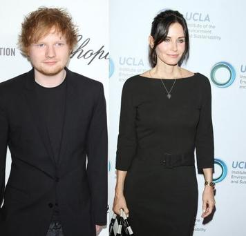 Unlikely BFFs: Ed Sheeran makes himself at home in Courteney Cox's Malibu pad