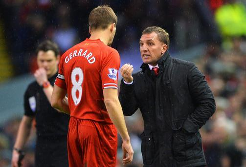 Liverpool manager Brendan Rodgers will loose captain Steven Gerrard for two games if the midfielder picks up another yellow card