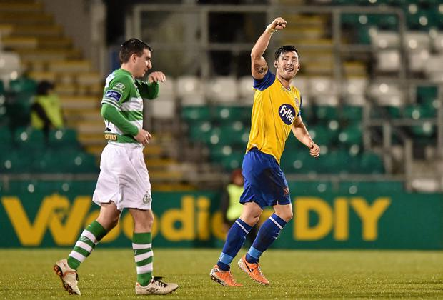 Richie Towell, Dundalk, celebrates after scoring his side's second goal