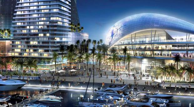 Artist rendering showing the proposed soccer stadium recommended for the Port of Miami.