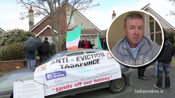 UP to 50 people staged a protest at the home of a family facing eviction in Co Kildare. (Inset) Ian Fitzgibbon (52), from Kerdiff Park, Monread Road in Naas