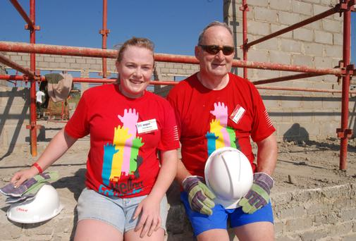 Aoife and her father Pat Murphy, from Borris, Co Carlow, on site at Bizama, Eastern Cape in South Africa