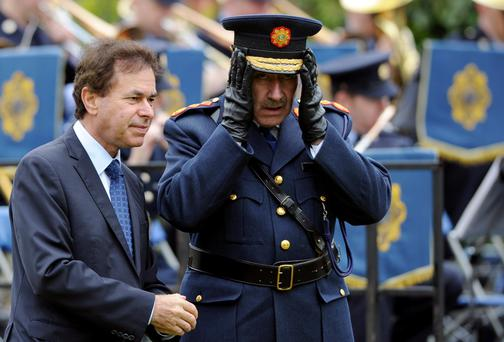 Former Garda Commissioner Martin Callinan pictured alongside the former Justice Minister Alan Shatter