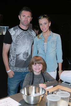 Robbie Keane with wife Claudine Palmer and son Robert