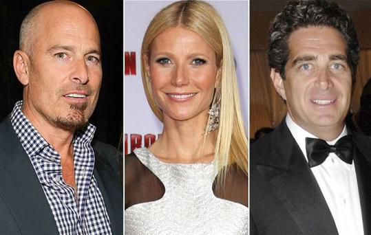Gwyneth Paltrow, centre, has denied that she had affairs with lawyer Kevin Yorn, left, and Elle Macpherson's billionaire husband Jeffrey Soffer, right.
