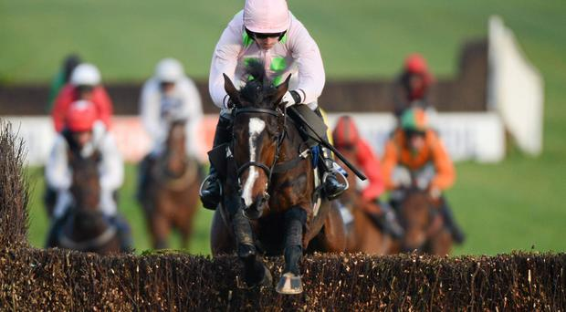 Tarla, with Ruby Walsh up, jumps the last on their way to winning at Powerstown