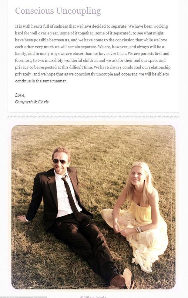 Gwyneth Paltrow and Chris Martin announced their split on her website, Goop