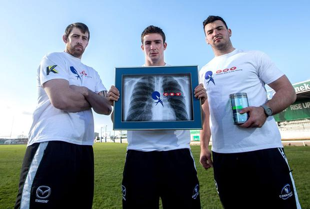 Aly Muldowney, David McSharry and Mick Kearney at the launch of the club's initiative with Kinetica to support CRY (Cardiac Risk in the Young)