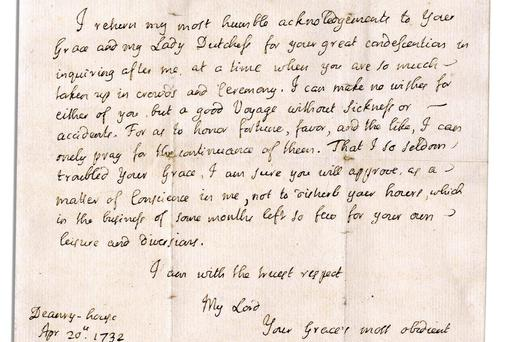 A scarce letter by Gullivers Travels author Jonathan Swift will be auctioned by Nate D. Sanders on March 27.