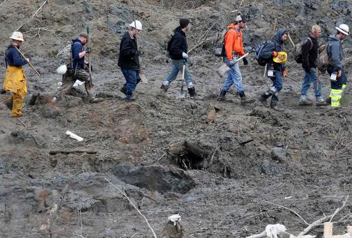 A line of rescue workers arrives to look for victims in the mudslide near Oso, Washington as efforts continued to locate victims