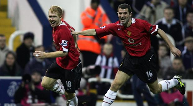 Former Manchester United team mates Paul Scholes and Roy Keane