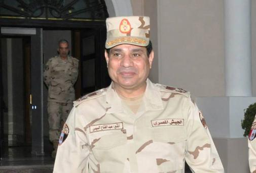 Egypt's army chief Field Marshal Abdel Fattah al-Sisi after meeting with members of the Supreme Council of the Armed Forces in Cairo yesterday.