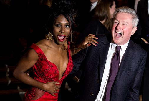 "Louis Walsh and Sinitta attend the press night of ""I Can't Sing! The X Factor Musical"" at London Palladium earlier this week"
