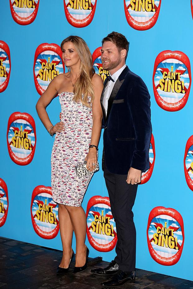 Brian McFadden (right) and Vogue Williams attending the opening night of I Can't Sing! The X Factor Musical at the London Palladium yesterday