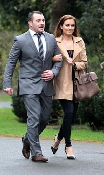 Cian Healy and Holly Carpenter arrive at a reception at Farmleigh House, Phoenix Park this afternoon to honour the Six Nations winning Irish Rugby team. Picture Colin Keegan/Collins