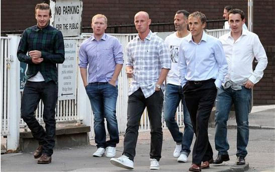 Old gang: David Beckham, Paul Scholes, Nicky Butt, Ryan Giggs, Phil Neville and Gary Neville